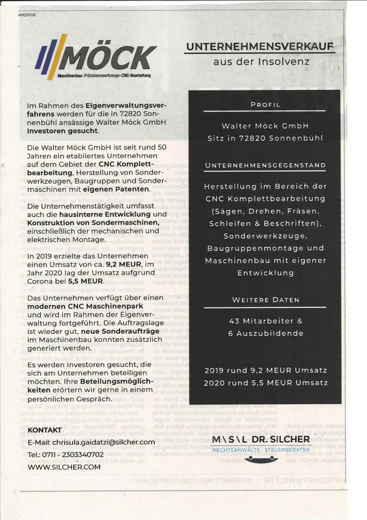 Verkaufsanzeige Walter Möck GmbH